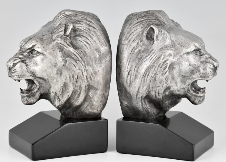 French Art Deco Bronze Lion Bookends Georges Raoul Garreau, France, 1930 For Sale