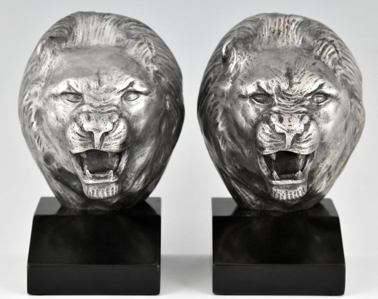 Art Deco Bronze Lion Bookends Georges Raoul Garreau, France, 1930 In Good Condition For Sale In Antwerp, BE