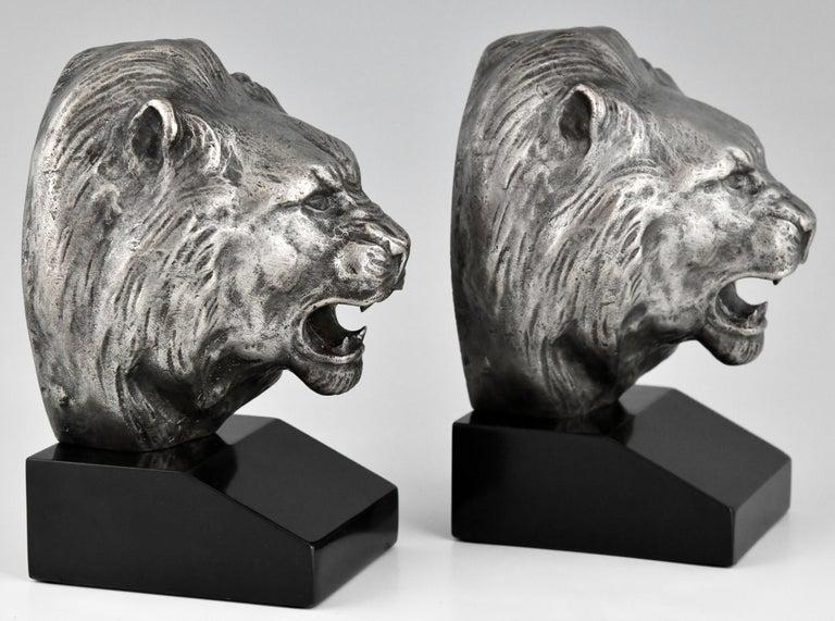 Art Deco Bronze Lion Bookends Georges Raoul Garreau, France, 1930 For Sale 2