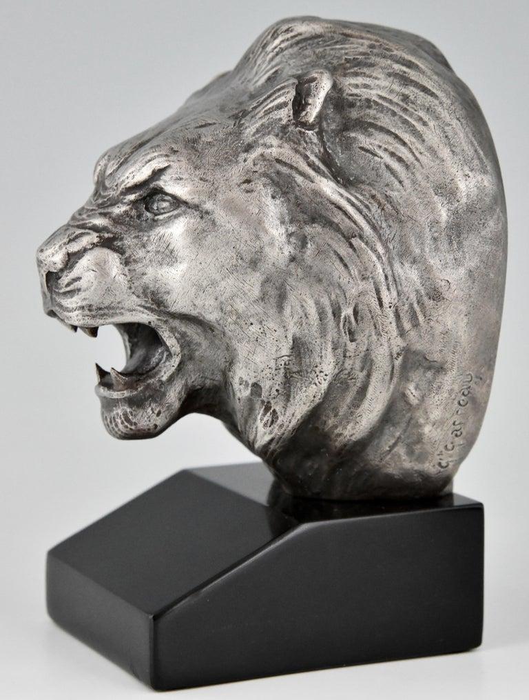 Art Deco Bronze Lion Bookends Georges Raoul Garreau, France, 1930 For Sale 3