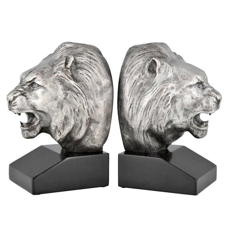 Art Deco Bronze Lion Bookends Georges Raoul Garreau, France, 1930 For Sale