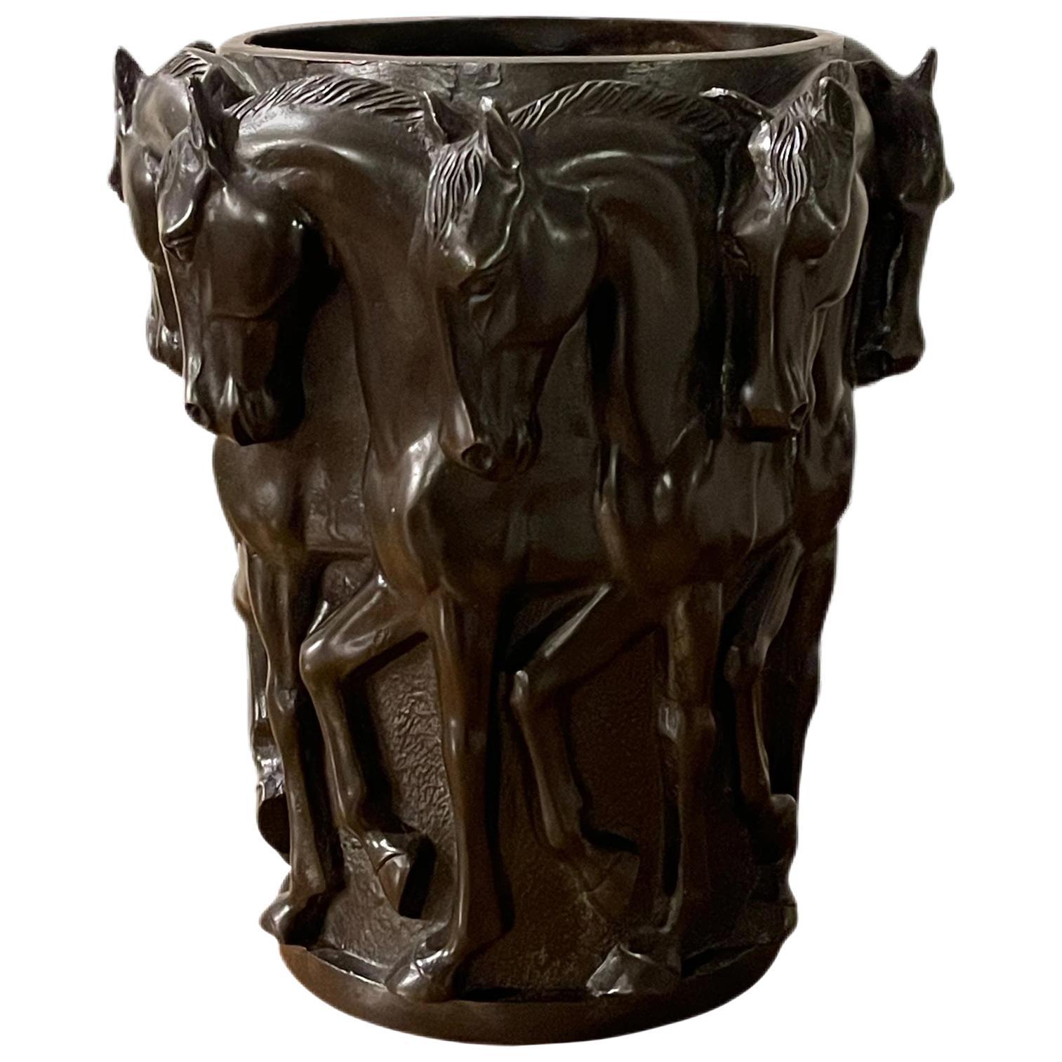 Art Deco Bronze Maharajah Thoroughbred Horse Vase