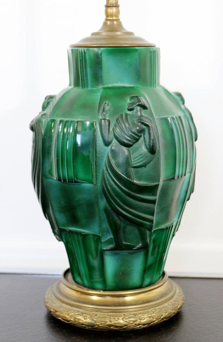 European Art Deco Bronze Malachite Glass Ingrid Table Lamp by Curt Schlevogt Czech, 1930s For Sale