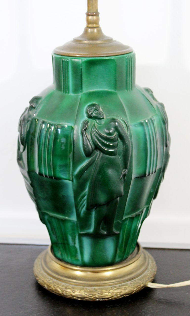 Art Deco Bronze Malachite Glass Ingrid Table Lamp by Curt Schlevogt Czech, 1930s In Good Condition For Sale In Keego Harbor, MI