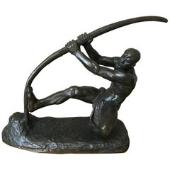 Art Deco Bronze Man with a Bow by G.Gori, 1925