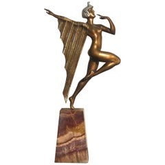 Art Deco Bronze Marble Base Egyptian Dancer, France 1930s