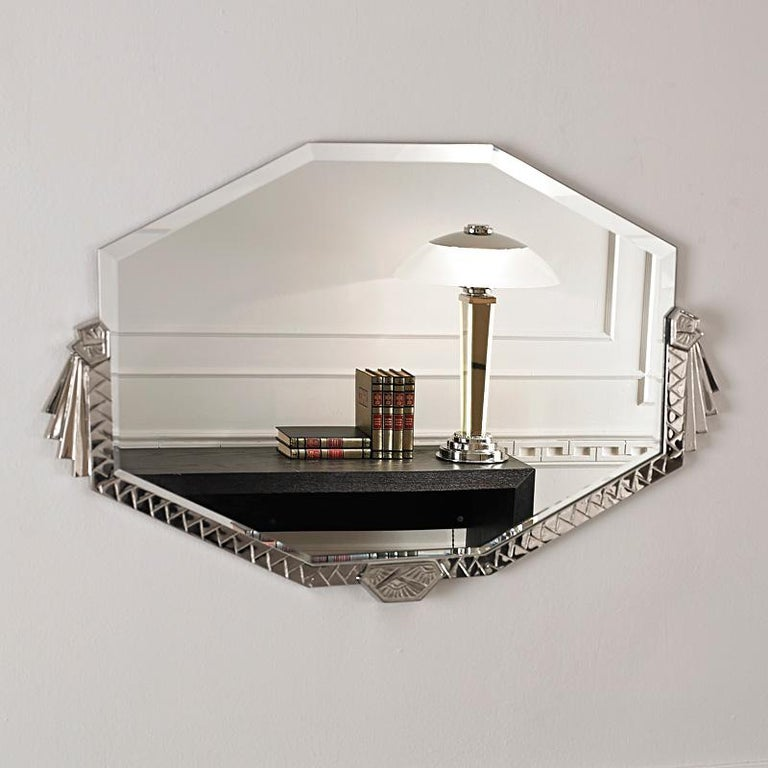Contemporary Art Deco Bronze Mirror with Nickel Finish For Sale