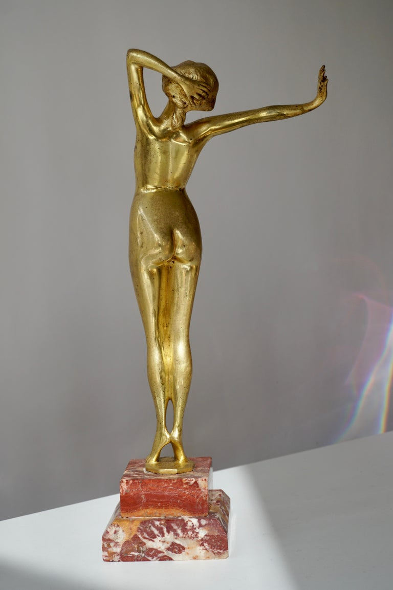 Art Deco Bronze Nude Erotic Female Dancer, France, 1920 In Good Condition For Sale In Antwerp, BE