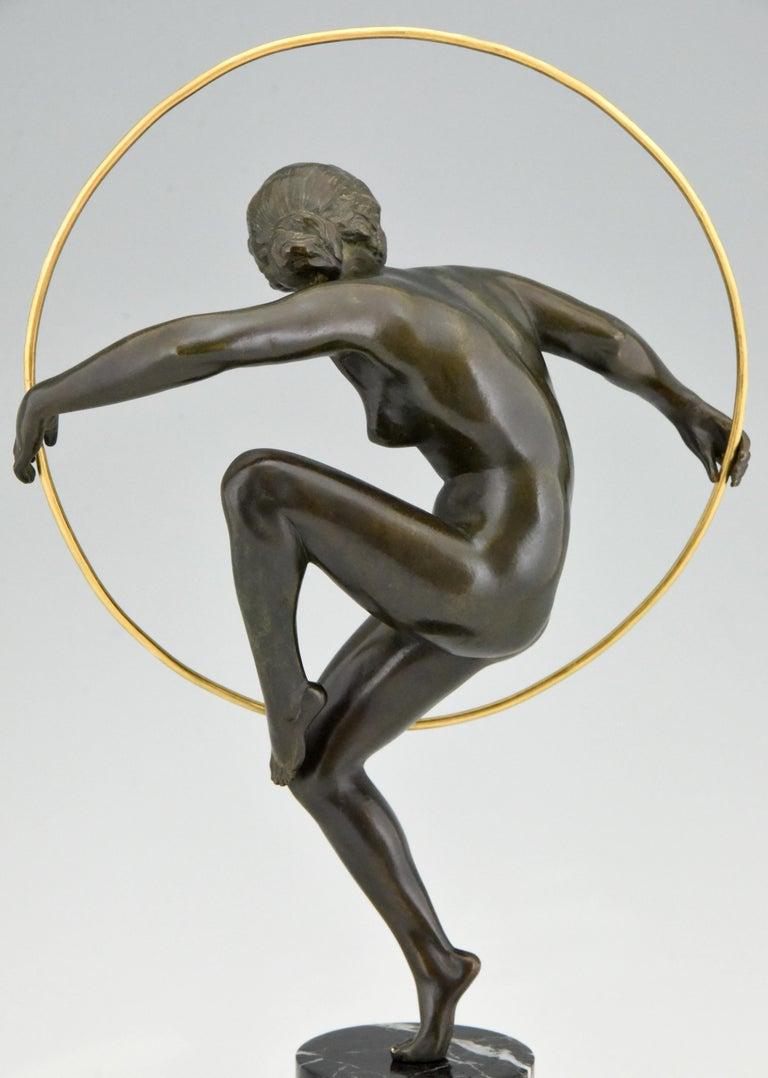 Art Deco Bronze Nude Hoop Dancer Andre Marcel Bouraine, 1930, France For Sale 4