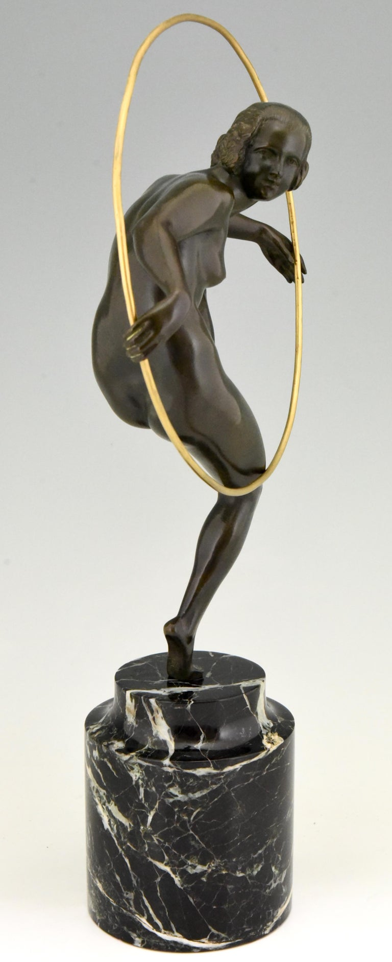 French Art Deco Bronze Nude Hoop Dancer Andre Marcel Bouraine, 1930, France For Sale