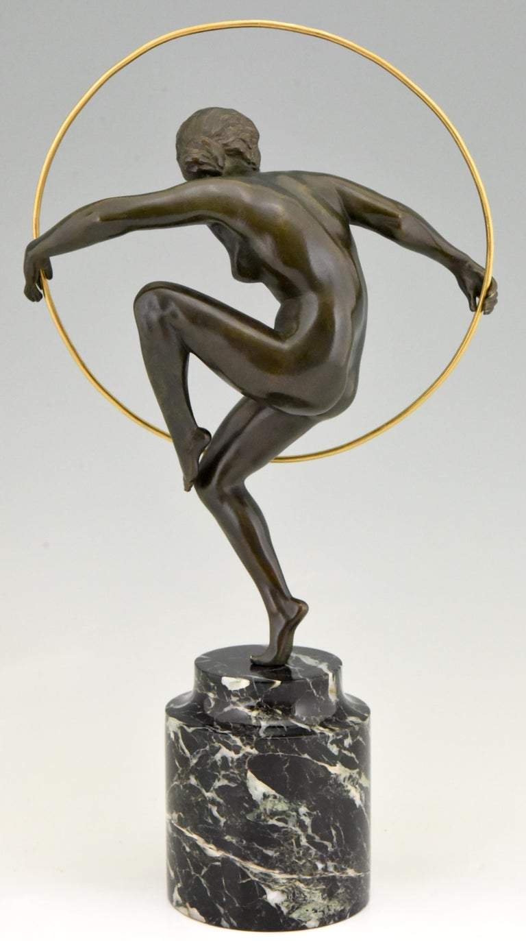 French Art Deco Sculpture Nude with Discs Derenne, Marcel