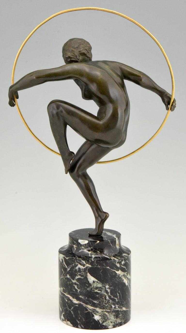 Art Deco Bronze Nude Hoop Dancer Andre Marcel Bouraine, 1930, France In Good Condition For Sale In Antwerp, BE
