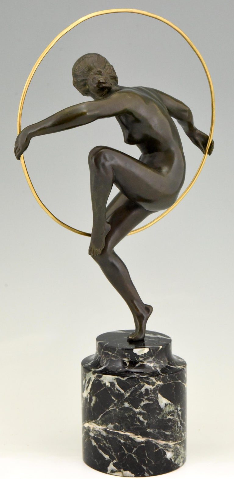Mid-20th Century Art Deco Bronze Nude Hoop Dancer Andre Marcel Bouraine, 1930, France For Sale