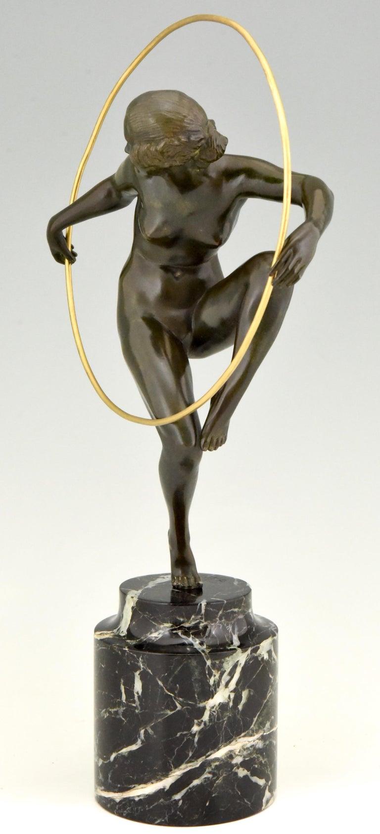 Art Deco Bronze Nude Hoop Dancer Andre Marcel Bouraine, 1930, France For Sale 1