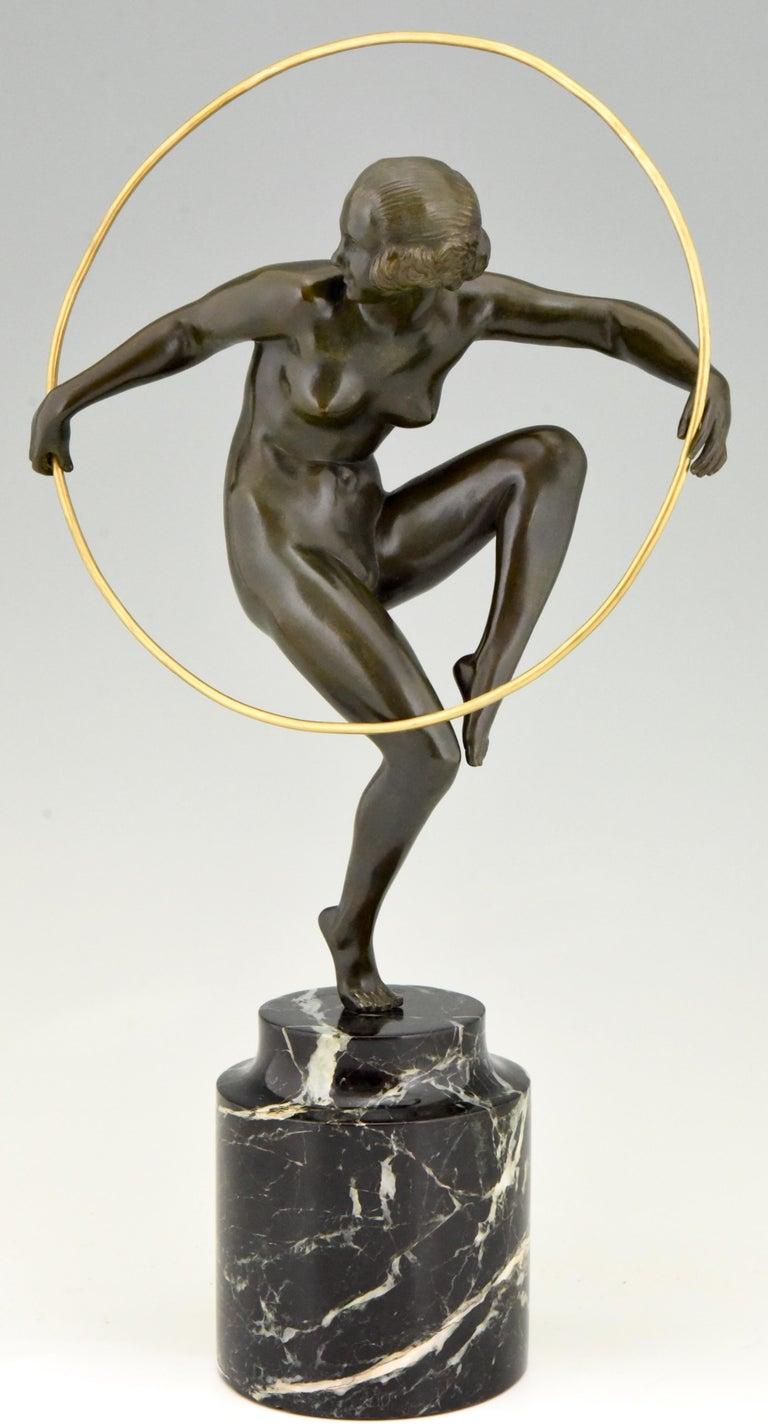 Art Deco Bronze Nude Hoop Dancer Andre Marcel Bouraine, 1930, France For Sale 2