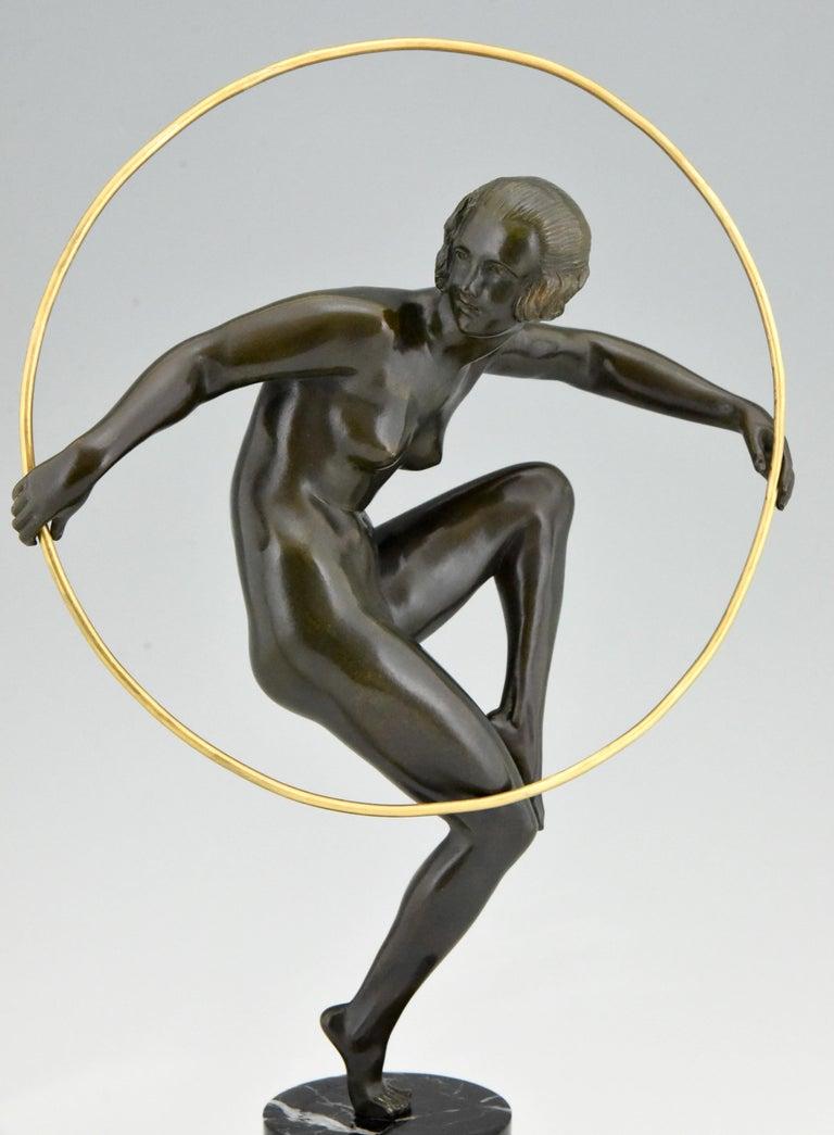 Art Deco Bronze Nude Hoop Dancer Andre Marcel Bouraine, 1930, France For Sale 3