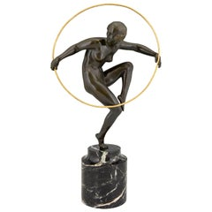Art Deco Bronze Nude Hoop Dancer Andre Marcel Bouraine, 1930, France