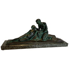 Art Deco Bronze on Green Marble Base