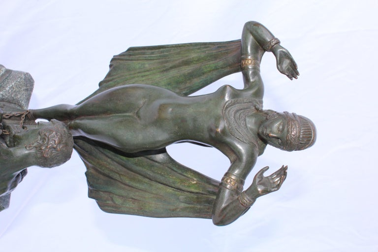 European Art Deco Bronze Original Double Figurine Green Patina, French For Sale