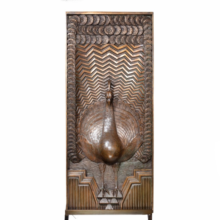 American Art Deco Bronze Panel of a Peacock Signed J Passani For Sale