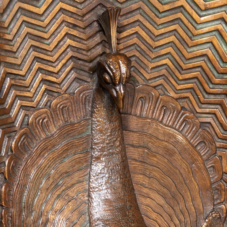 Art Deco Bronze Panel of a Peacock Signed J Passani For Sale 1