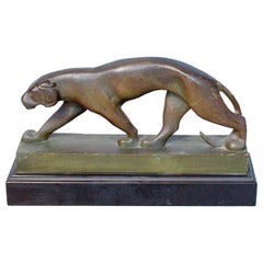 Art Deco Bronze Panther Attributed to Jean Luc French, circa 1930
