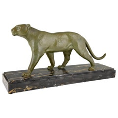 Art Deco Bronze Panther Sculpture Alexandre Ouline, France, 1930