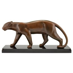 Art Deco Bronze Panther Sculpture Emile Louis Bracquemond, France 1930