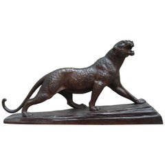 Art Deco Bronze Panther Sculpture