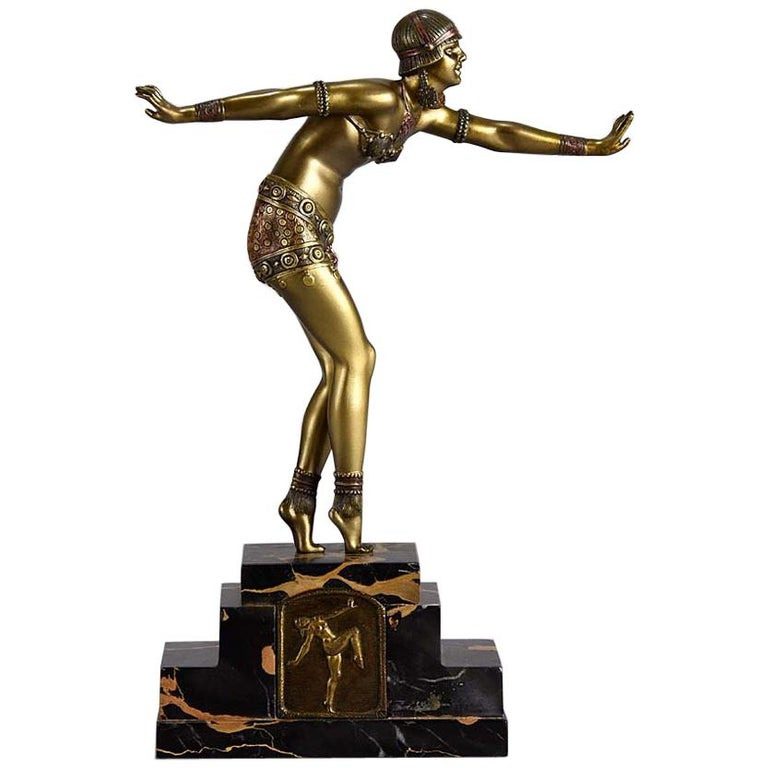"Art Deco Bronze ""Phoenician Dancer"" by Demetre Chiparus For Sale"