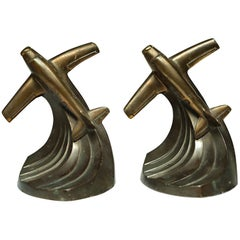 Art Deco Bronze-Plated Airplane Bookends, circa 1930s