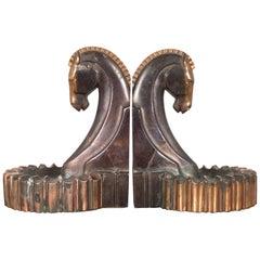 Art Deco Bronze-Plated Horse Bookend/Ashtray, circa 1930s