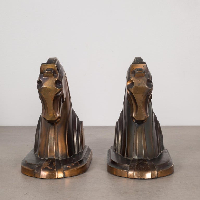 Art Deco Bronze-Plated Horse Bookends, circa 1930s In Good Condition In San Francisco, CA