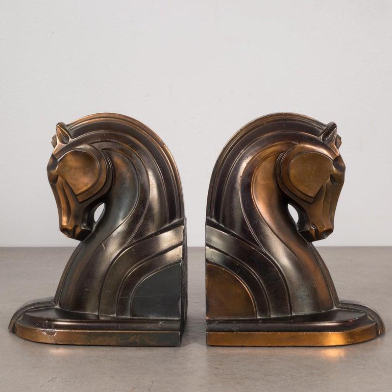 20th Century Art Deco Bronze-Plated Horse Bookends, circa 1930s