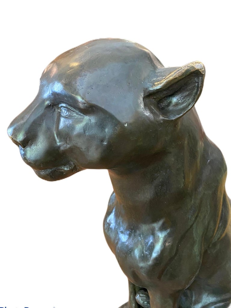 French Art Deco Bronze Puma Pair of Sculpture Statue For Sale