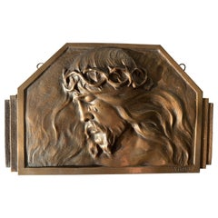 Art Deco Bronze Religious Art Wall Plaque in Relief Depicts Suffering of Christ