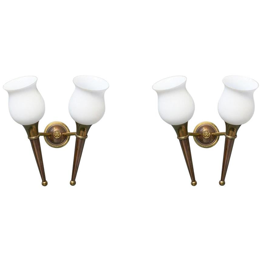 Art Deco Bronze Sconces with Frosted Glass Shades, France