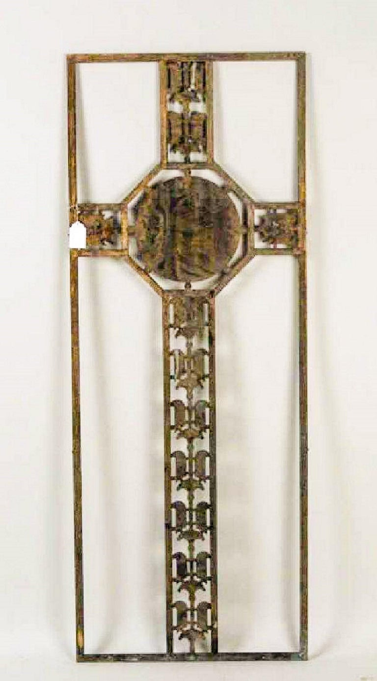 French Art Deco Bronze Screen with Gilded Medallion of King Croesus For Sale
