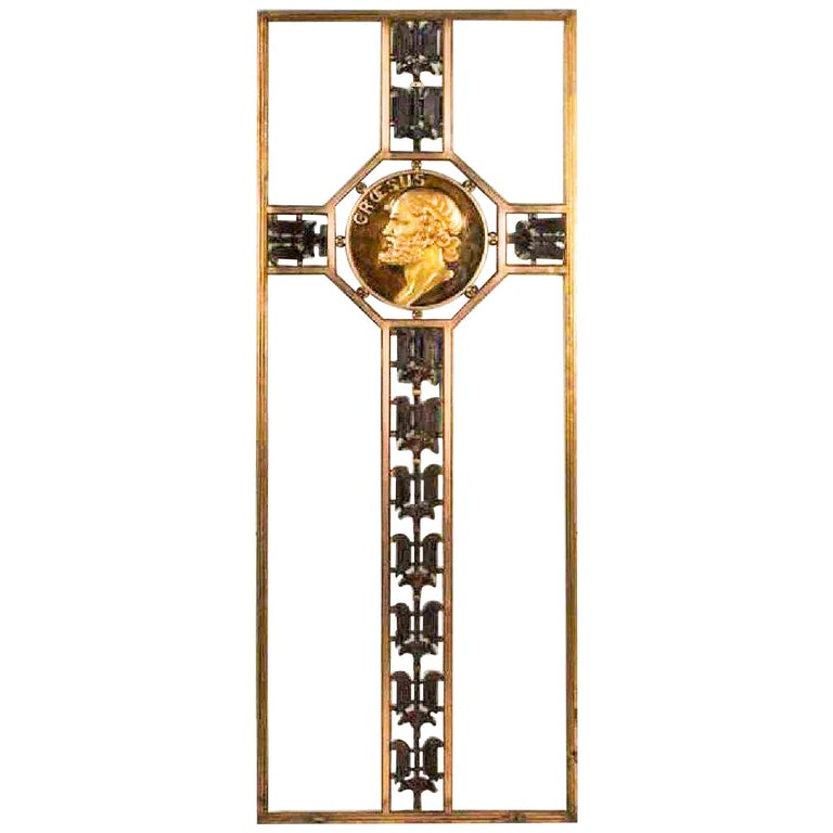 Art Deco Bronze Screen with Gilded Medallion of King Croesus For Sale