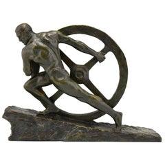 Art Deco Bronze Sculpture Athlete Pushing a Wheel Strength Pierre Le Faguays