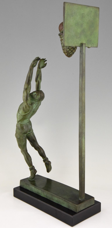 Art Deco Bronze Sculpture Basketball Player Reverse Dunk G. E. Mardini, France For Sale 4