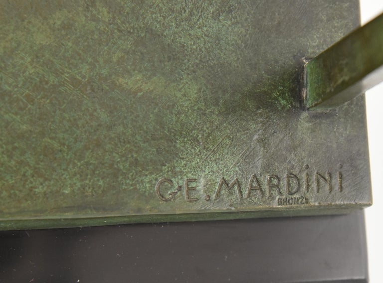 Art Deco Bronze Sculpture Basketball Player Reverse Dunk G. E. Mardini, France For Sale 6