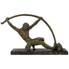 Art Deco Bronze Sculpture Bending Bar Man L'age Du Bronze Demetre H. Chiparus