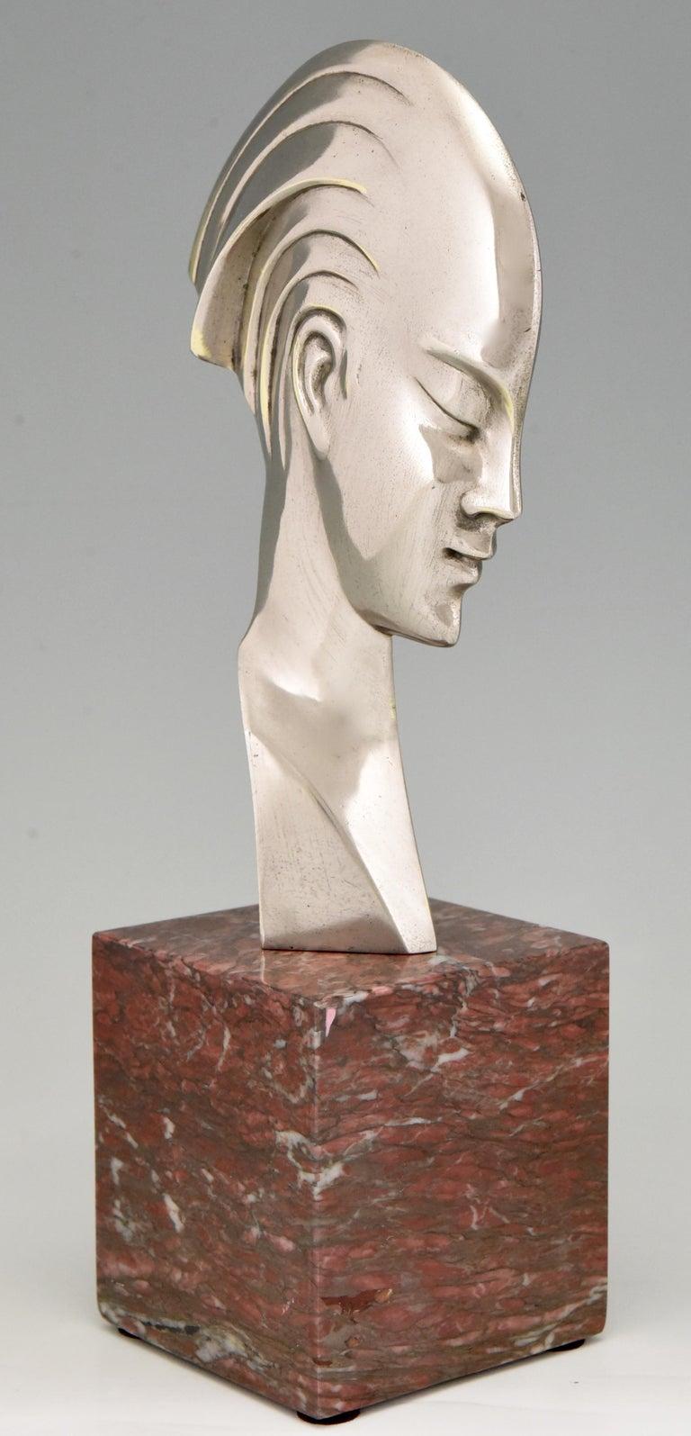 Italian Art Deco bronze sculpture bust woman profile att. to Guido Cacciapuoti 1930