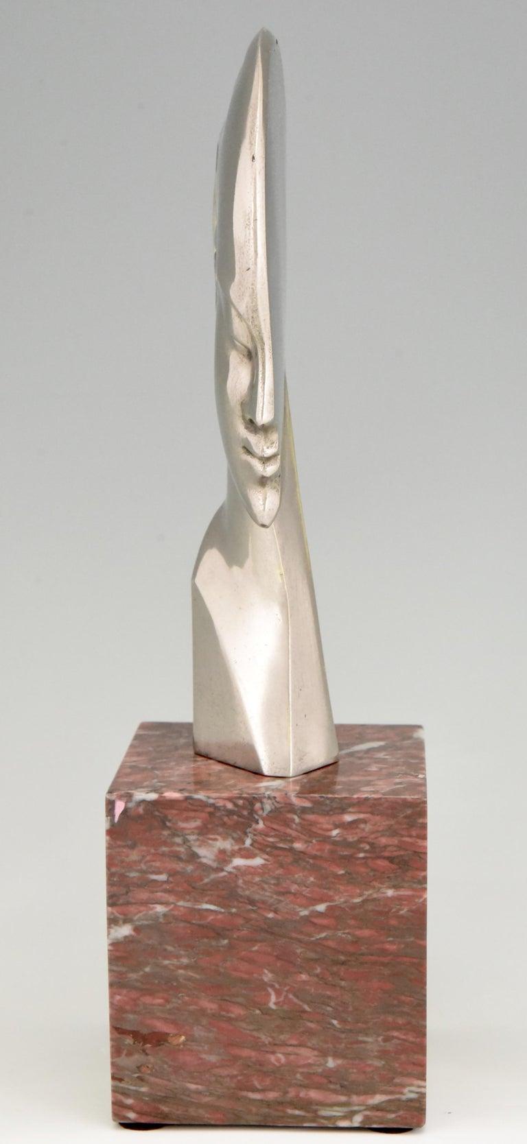 Silvered Art Deco bronze sculpture bust woman profile att. to Guido Cacciapuoti 1930