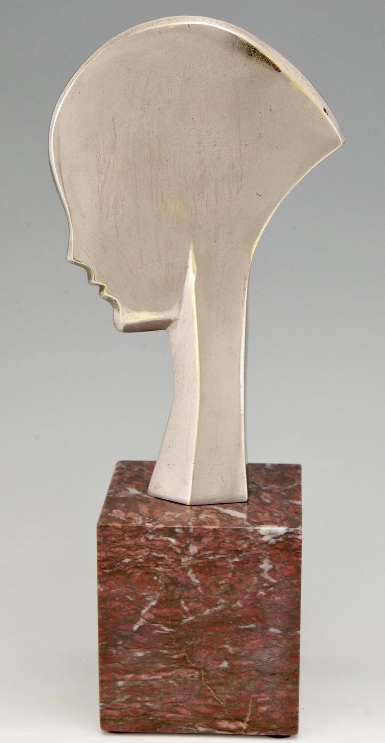 Art Deco bronze sculpture bust woman profile att. to Guido Cacciapuoti 1930 In Good Condition In Antwerp, BE