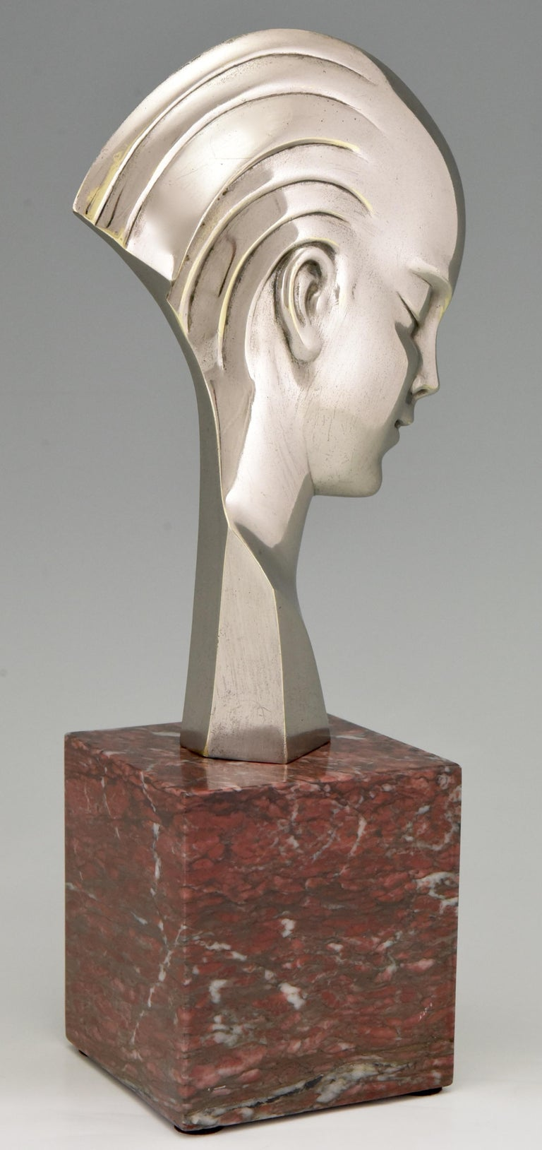 Bronze Art Deco bronze sculpture bust woman profile att. to Guido Cacciapuoti 1930