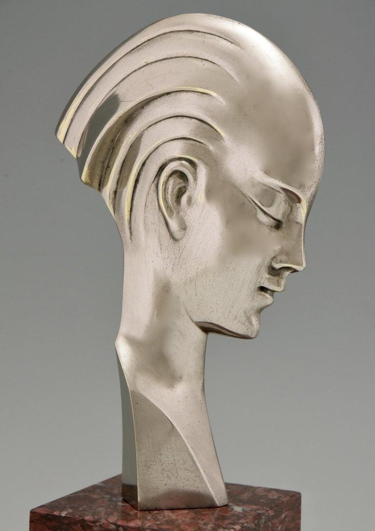 Art Deco bronze sculpture bust woman profile att. to Guido Cacciapuoti 1930 1