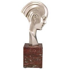 Art Deco bronze sculpture bust woman profile att. to Guido Cacciapuoti 1930
