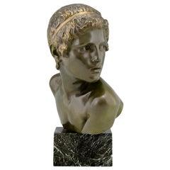 Art Deco Bronze Sculpture Bust Young Boy Achilles by Constant Roux, 1920